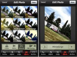 Auch Camera+ beherrscht den Tiltshift-Effekt, aber ohne weitere Einstellungsmöglichkeiten
