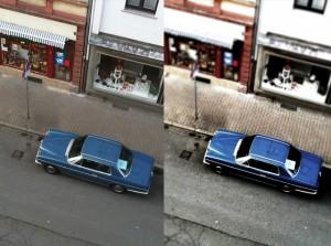 Links das Original, rechts mit MyFilm und Tiltshift-Effekt